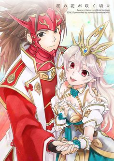 Fire Emblem: If/Fates - Kamui and Ryouma<<I don't ship them that much but damn, this is cute