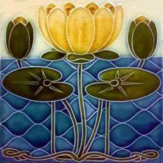 Art Nouveau Lily Ceramic Tiles ref 039