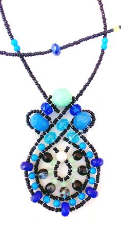 """""""Celtic-Gate Sapphire & Amazonite"""" Necklace from Musesa Collection. $ 230.00.  Sapphire (hand-faceted beads, 1.8 carats), Black Golden Amazonite, Blue Mountain Jade, Green Turquoise, Blue Robin Jade, Freshwater Pearl, Mother-Pearl Shell, Swarovski Crystals."""