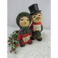 Vintage Christmas Carolers Figurines Old English Style Handmade Made... ($8.75) ❤ liked on Polyvore featuring home, home decor, handmade home decor, english home decor and handcrafted home decor