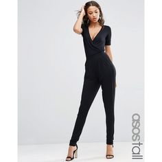ASOS TALL Wrap Front Jersey Jumpsuit With Short Sleeve ($41) ❤ liked on Polyvore featuring jumpsuits, black, asos, short sleeve jumpsuit, jersey jumpsuit, v neck romper and wrap front romper