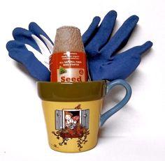Mary Engelbreit Window Flower Mug Blue Latex Gloves 12 Starter Pots Garden Gift