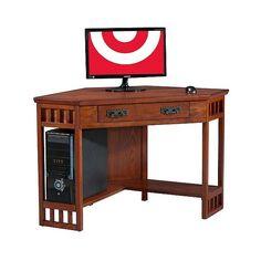 Mission Corner Desk ($270) ❤ liked on Polyvore featuring home, furniture, desks, brown, space saving desk, brown computer desk, mission style desks, computer shelves and storage shelving