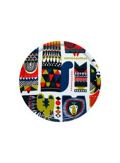 Marimekko Kukkuluuruu Multicolor Large Round Tray Bring an unconventional mix of cultural influences to the table with the Marimekko Kukkuluuruu Large Round Tray. Spacious, stylish, and sturdy, the tray features large scale totem-like animal illustrat. I Love You Mum, Round Tray, Marimekko, Retro Home, Nordic Design, Fabric Painting, Decorative Items, Cool Designs, Kids Rugs