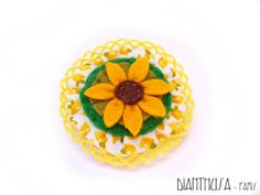 Felted Brooch white yellow and brown tones The by Dianthusa, €15.00
