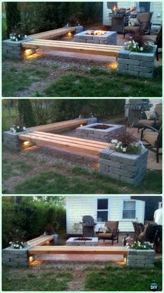 DIY Propane fire pit & Corner benches with landscape lighting and pillars with planters
