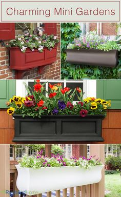 Window boxes look so beautiful! You get the chance to put a mini garden right outside the window.  Keep in mind window boxes also look great on porch railings as well as windows. Take a look at some really great window box options!