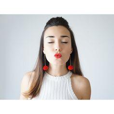Red Pompom Earrings Red Earrings Christmas Earrings Christmas Wear... ($20) ❤ liked on Polyvore featuring jewelry, earrings, holiday earrings, anniversary jewelry, special occasion earrings, red jewelry and lace earrings