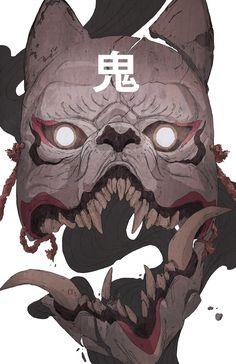 """Forgot to post up this Kitsune Mask drawing. Fantasy Character Design, Character Design Inspiration, Character Art, Japanese Mask, Japanese Tattoo Art, Mascara Oni, Kitsune Maske, Yuumei Art, Samurai Artwork"