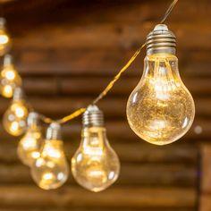 Catena di luci solari Party da 5 m con 10 lampadine, 60 miniled bianco caldo, cavo trasparente, prolungabile