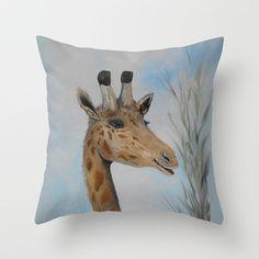 Giraffe Smile Throw Pillow by RokinRonda - $20.00