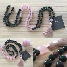 Rose Quarz Mala Beads 108 Mala Necklace Bloodstone Prayer - List of the most beautiful jewelry Beaded Jewelry, Handmade Jewelry, Beaded Bracelets, Diy Jewelry, Jewellery, Diy Mala Beads, Jewelry Findings, Handmade Wire, Jewelry Ideas