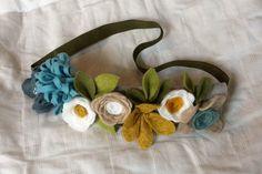 Felt Flower Crown // Blue, Yellow, White + Oatmeal