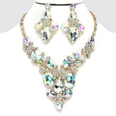 Ab Clear Crystal Gold Chain Chunky Necklace Set Pageant Bridal Evening Jewelry #uniklook