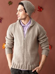 Simple style has its day with this classic stockinette raglan cardigan. The quick and easy hat matches the garter stitch shawl collar! #knit