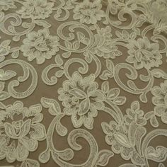 Ivory Elaborate Floral Corded Lace