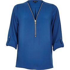 Blue zip-up neck shirt