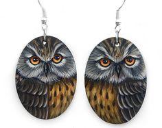 Pair of Tawny Owl Earrings Hand Painted Jewels | Etsy Painted Rocks For Sale, Hand Painted Rocks, Painted Stones, Long Eared Owl, Shell Pendant, Owl Art, Pet Portraits, Owl Earrings, Seashell Painting