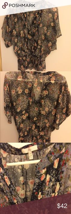 🆕🌺shear flirty girly draw-string waist  top Gorgeous girly sheer top. Has drawstring waist-Pull it in or let it out as much as you like!  Lovely pattern High end brand (look them up)bought in Saks at full price Joie Tops Blouses