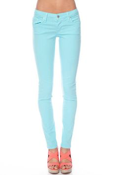 GJG Denim - Solid Skinny Jeans in Aqua Blue - on sale 37$ ~>www.tobi.com