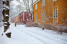 Käpylä / Quiet corners in the capital - thisisFINLAND  ((It's funny; people think of Caribbean towns as being colourful.  Isn't this beautiful... in the heart of snowy Finland.