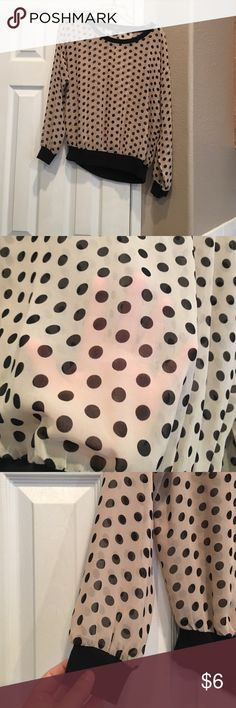 Women's Blouse Sheer polka dot long sleeve. Wear with cami and skinny jeans. Great shape. Could fit a small medium. Forever 21 Tops Tees - Long Sleeve