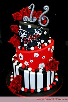 Sweet 16 Butterfly Rose Topsy Turvy Cake » Sweet 16 Cakes