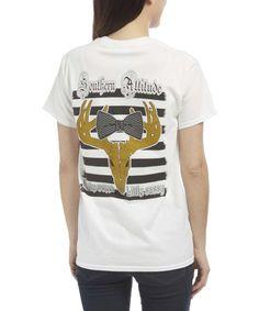 Loving this White Deer Skull Logo Tee on #zulily! #zulilyfinds