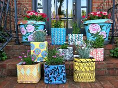 DIY planters made from kitty litter containers