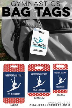 Easily identify your sports bag or travel luggage using our cross training bag tags, available in three sizes to properly fit any bag with unique designs. Gymnastics Bags, Gymnastics Coaching, Team Gifts, One Bag, Team Names, A Team, Backpack, Printing, Plastic