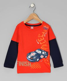 Take a look at this Orange Racecar Layered Tee - Infant on zulily today!
