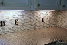 Coastal Inspired DIY Tile Backsplash Tutorial (anyone can do! Diy Tile Backsplash, Vinyl Wood Planks, It's Easy, Coastal, Artsy, Canning, Inspired, Diy Tiles, House