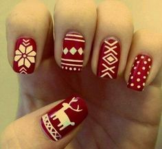 Image via We Heart It #art #christmas #decoration #love #nail #nailart #nails #red #white