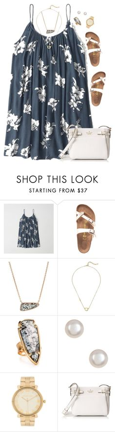 """Feeling floral !! / Presleigh"" by summer-preps ❤ liked on Polyvore featuring Abercrombie & Fitch, Birkenstock, Kendra Scott, Cole Haan, Michael Kors and Kate Spade"