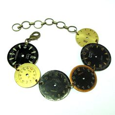 Vintage watch dial bracelet by Mystic Pieces #steampunk #jewelry #mysticpieces #etsy