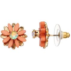 LC Lauren Conrad Peach Flower Nickel Free Stud Earrings ($8.40) ❤ liked on Polyvore featuring jewelry, earrings, pink, stud earrings, multicolor earrings, pink jewelry, fake earrings and nickel free earrings