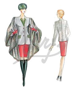 Fabric required about mt 1 70 wide 1 40 Available in sizes 42 44 46 48 50 Wool herringbone or double crêpe jacket with velvet raised collar lapels and pocket flaps Cloak n 3969 Fashion Illustration Template, Illustration Mode, Marfy Patterns, Sewing Patterns, Fashion Art, Womens Fashion, Fashion Design, Italian Pattern, Mode Vintage