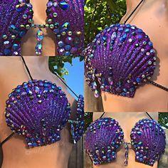 Mermaid Top, Mermaid Shell, Mermaid Tails, Seashell Painting, Seashell Art, Seashell Crafts, Seashell Ornaments, Diy Costumes, Halloween Costumes