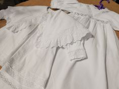 Victorian Christening Baby Dress and Cape Set White Ribed French Cotton Eyelet Lace Inlay and Trimmed 1930's Christian Baby Dress