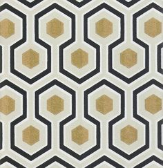 Hicks' Hexagon Wallpaper Black grey and gold hexagon design