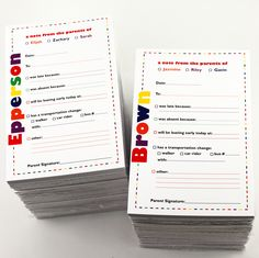 Parents needs personalized school gear too. These personalized excuse pads make sending a note to the teacher so easy.