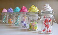 Fake Cupcake Candy Shoppe Classic Swirl Ed. Glass Jars Set 4 Original 12 Legs Concept Often Imitated, Never Duplicated. $19.99, via Etsy.