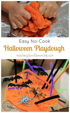 Easy no-cook play dough for Halloween that preschoolers love - Teaching 2 and 3 Year Olds