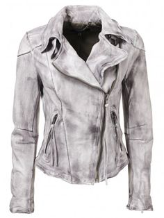Muubaa Cortez Raw Seam Leather Biker Jacket in Dark Clouds - Jackets from Muubaa UK ($500-5000) - Svpply