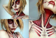 I consider this fanart. The Female Titan, from the anime Attack On Titan (Shingeki no Kyojin) Cosplay Make-up, Cosplay Anime, Halloween Cosplay, Halloween Makeup, Cosplay Costumes, Halloween Zombie, Zombie Makeup, Scary Makeup, Cosplay Outfits