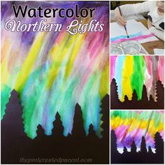 Pretty Northern Lights paintings with watercolors - art & painting for kids Kids Watercolor, Watercolor Art Paintings, Watercolors, Light Painting, Painting For Kids, Art For Kids, Projects For Kids, Art Projects, Science Projects