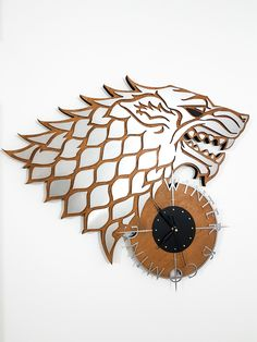 Game of Thrones, winter is coming, wood and stainless steel laser cut wall clock