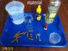 Materiais necessários para o experimento sobre densidade