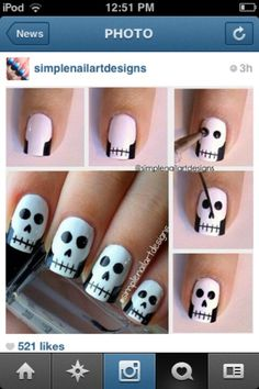 Skull nail art -- would be cool for Halloween