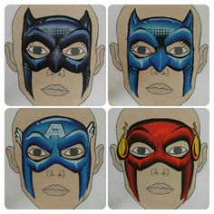 Onalee Riviera's one stroke Batman, Captain America and the Flash. Face Painting Tips, Face Painting Designs, Painting For Kids, Body Painting, Face Paintings, Batman Face Paint, Superhero Face Painting, Captain America Face Paint, Fab Boys